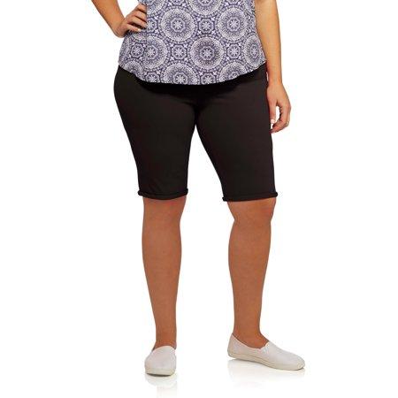 4692237d468442 Faded Glory Women's Plus-Size Knit Jegging Bermuda Shorts ...