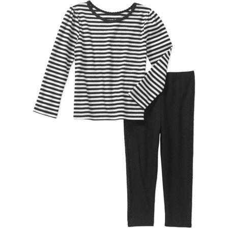 cdb06befe54 Garanimals Baby Toddler Girls  2-Piece Long Sleeve Stripe Tee and Tuxedo  Leggings Set
