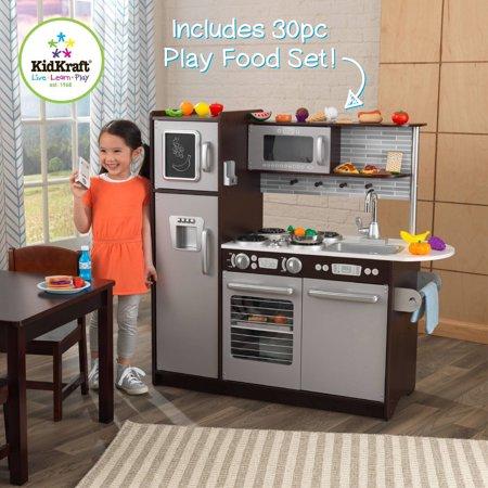 Kidkraft Uptown Espresso Wooden Play Kitchen With 30 Pc Food Set